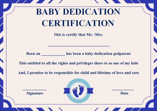 Baby dedication certificate With godparents