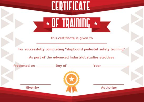 Blank Training Certificate Template