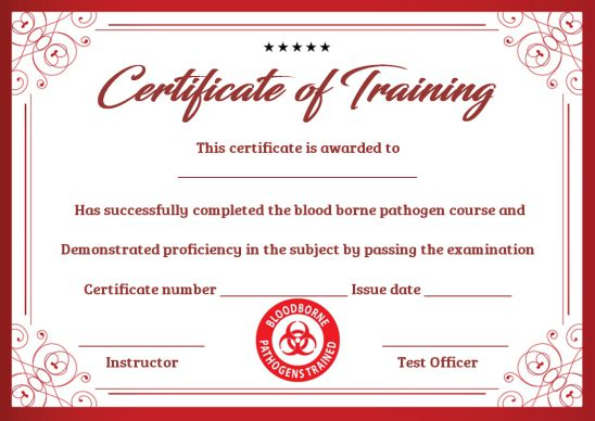 Bloodborne Pathogen Training Certificate Template