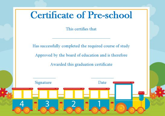 Certificate For Prechool Templates