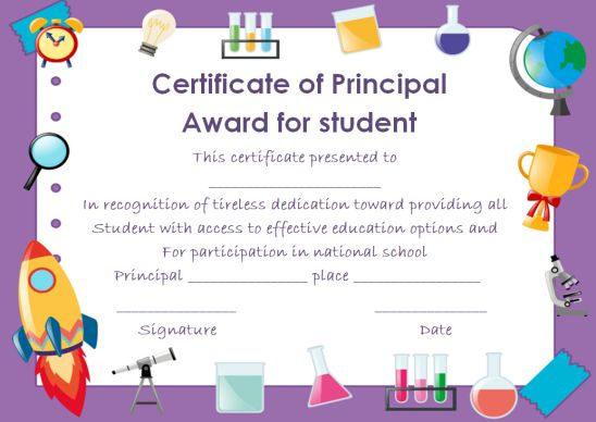 Certificate Of Principal Award For Student