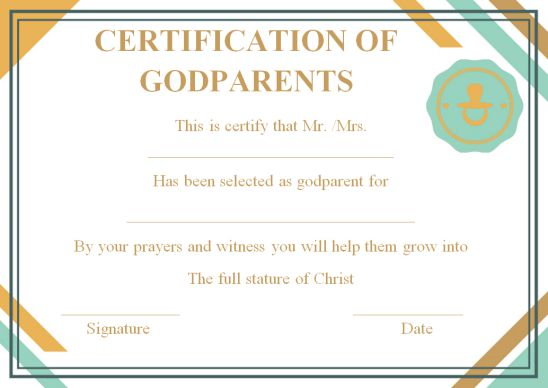 Certificate for godparents