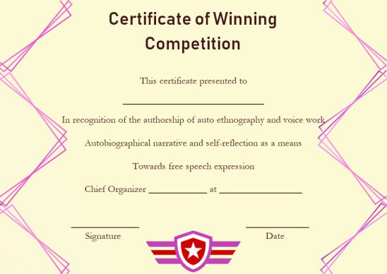 Certificate of winning competition
