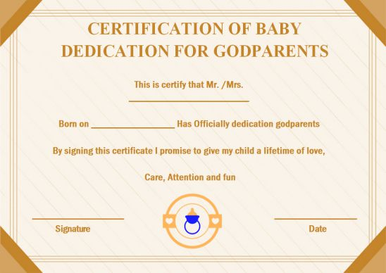 Certification Of Baby dedication for godparents