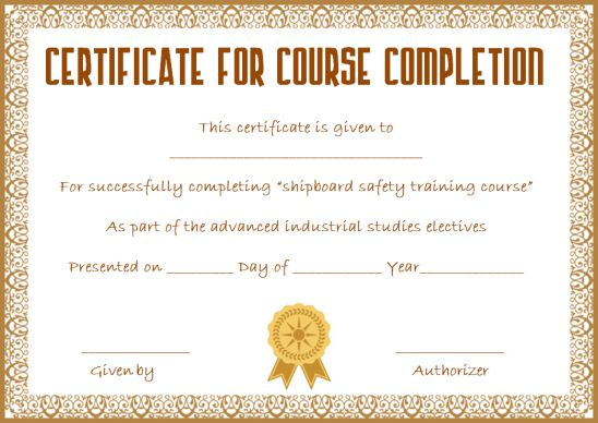 Course Completion Certificate Template Word