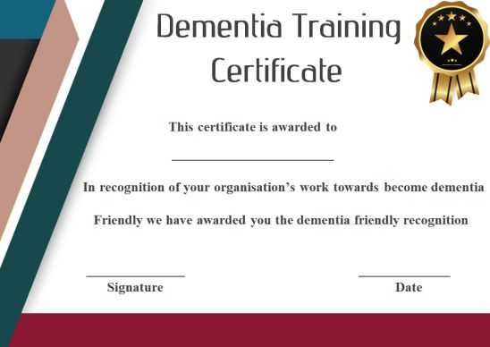 Dementia Training Certificate Template