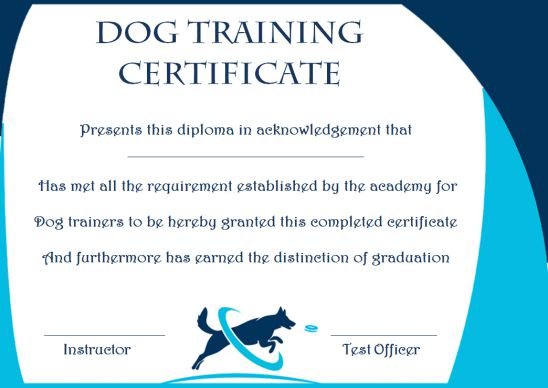 Dog Training Gift Certificate Template