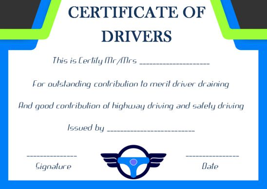 Drivers Training Certificate Template