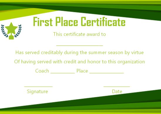 First prize contest winner certificate template