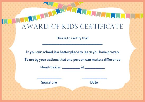 Kids Award Certificate
