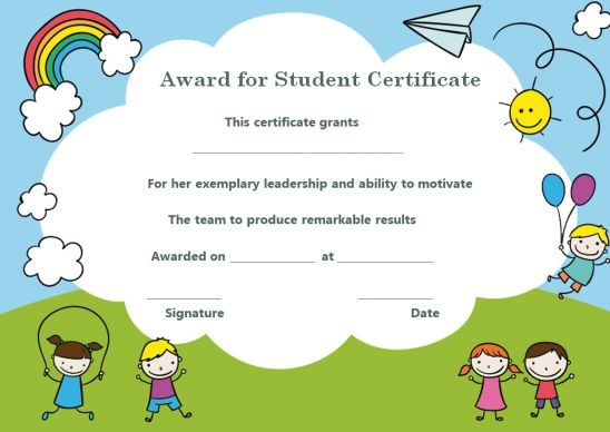 Kids Certificate Template Free