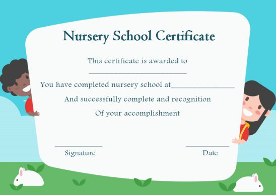 Nurery School Certificate Templates For Kid