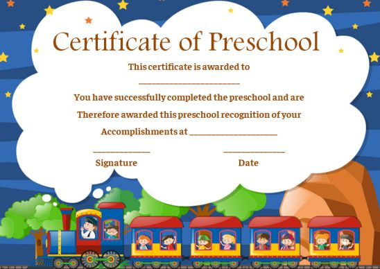 Preschool Certificate Templates For Kid