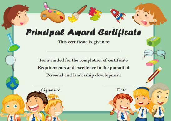 Principal Award Certificate