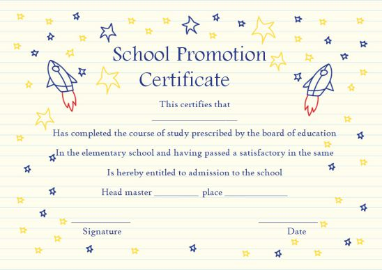 School Promotion Certificate Template For Kids