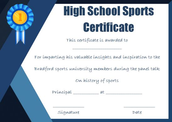 high school sports certificate templates