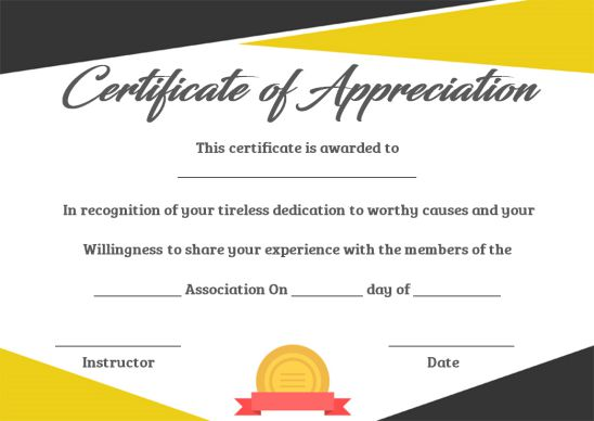 Recognition certificate template PowerPoint