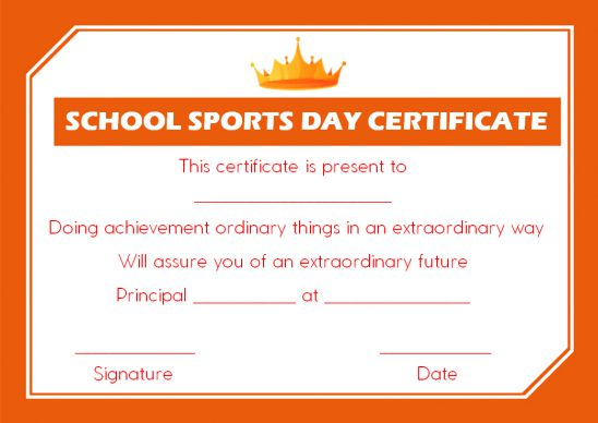 school sports day certificate template