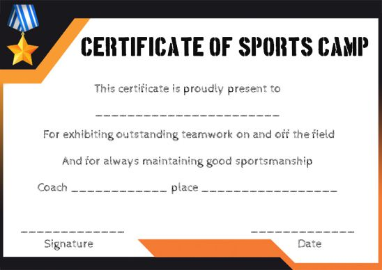 Sports camp certificate template