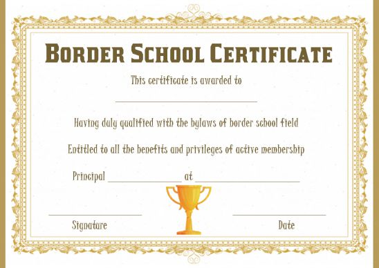 sports certificate border template