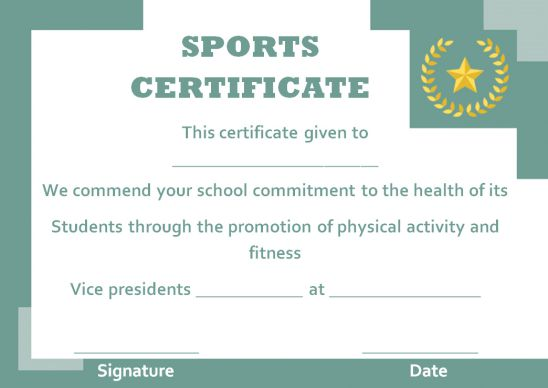 sports certificate design templates