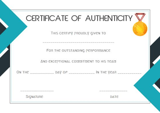 sports certificate of authenticity template
