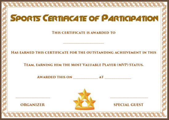 sports certificate of participation template