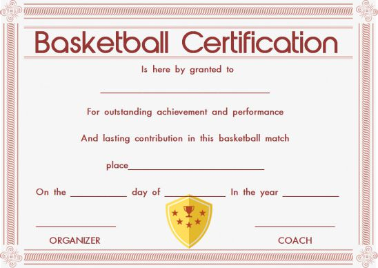 Sports certificate template basketball