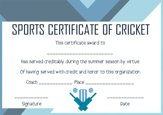 sports certificate templates cricket
