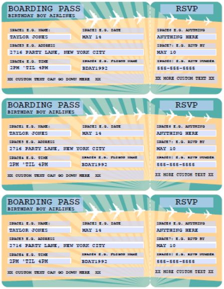 Airline Boarding Pass Template Free