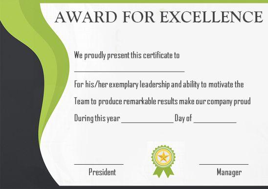 Blank Award Certificates Printable
