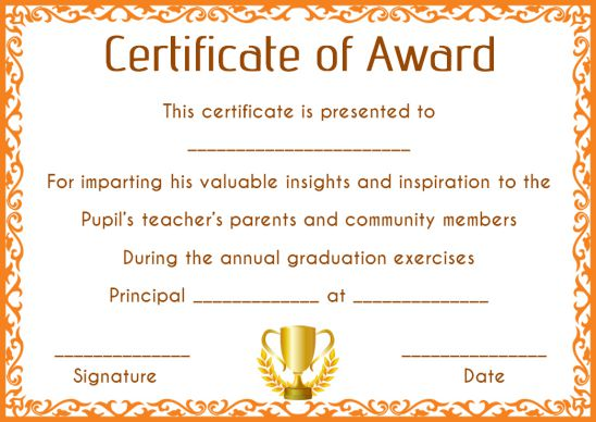 Blank Award Certificates Template For Elementary Students