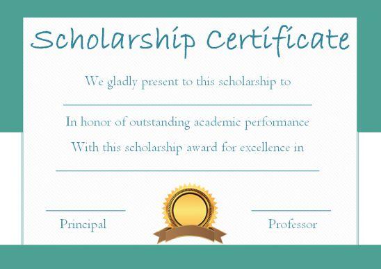 Blank Scholarship Award Certificate Template
