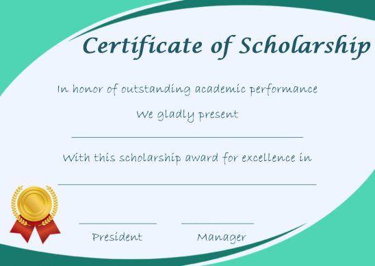 Blank Scholarship Award Certificates