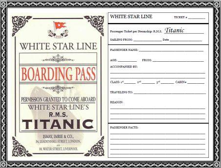 Boarding Pass Template Titanic
