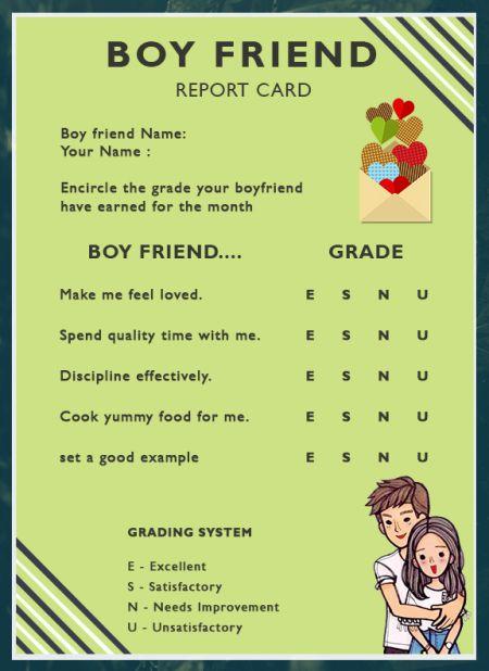 Boyfriend ReportCard Template