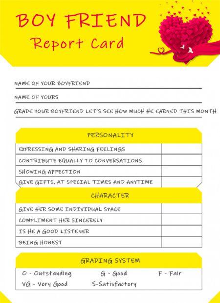 Boyfriend ReportCard Template Printable