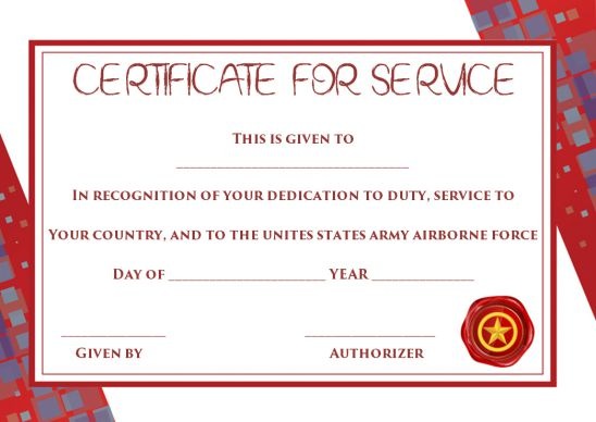 Certificate Of Appreciation For Patriotic Civilian Service Template