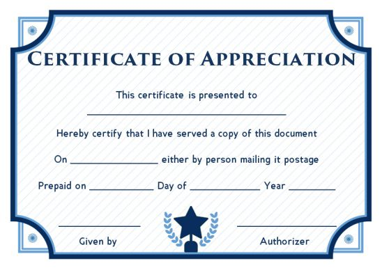 Certificate Of Community Service Template