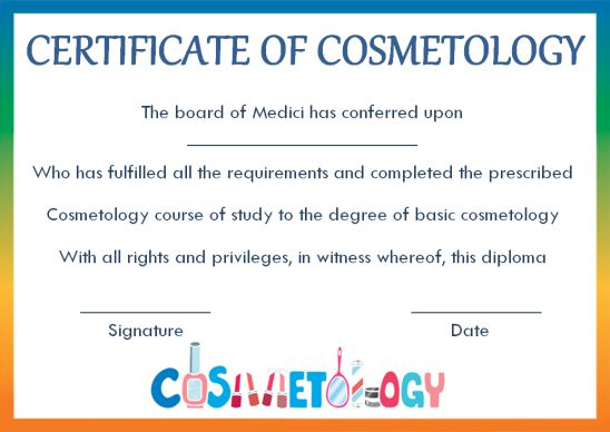 Certificate Of Cosmetology