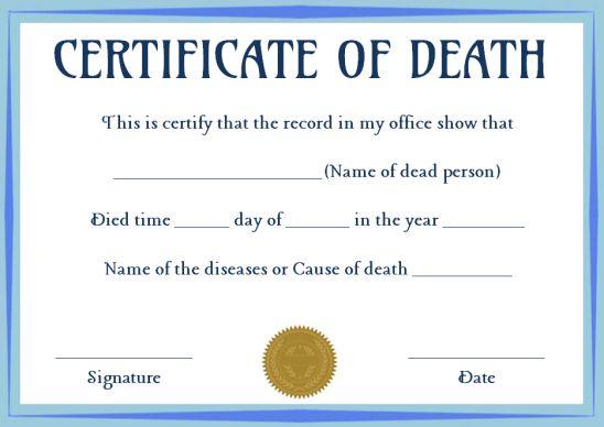 Certificate Of Death Template