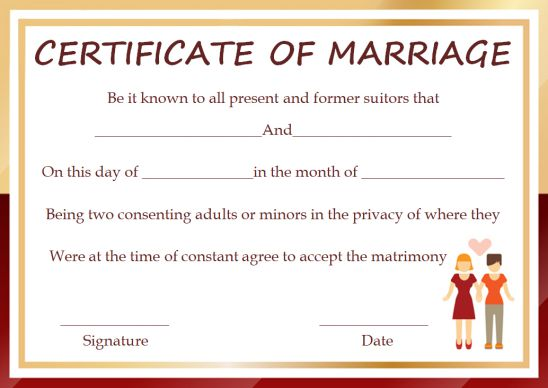 Certificate Of Marriage Florida