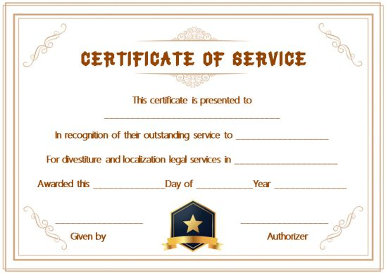 Certificate Of Meritorious Service Template