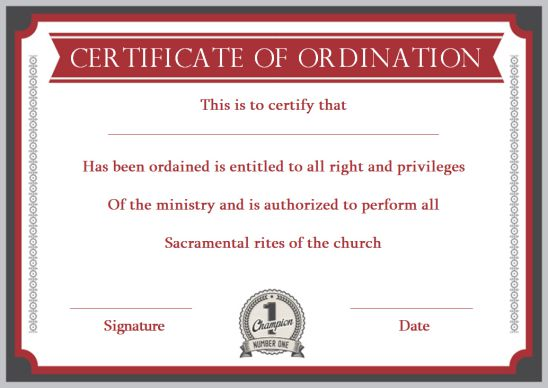 Certificate Of Ordination For Pastor Template