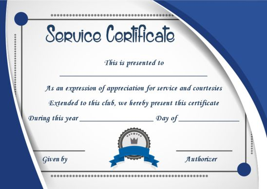 Certificate Of Outstanding Services Template