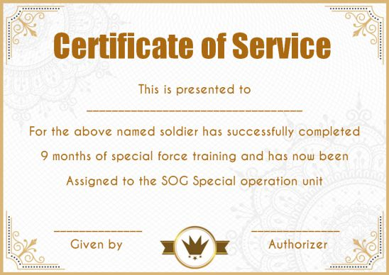 Certificate Of Service Excellence Template