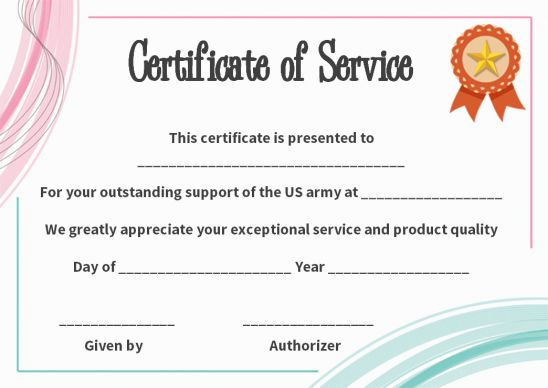 Certificate Of Service Texas Template