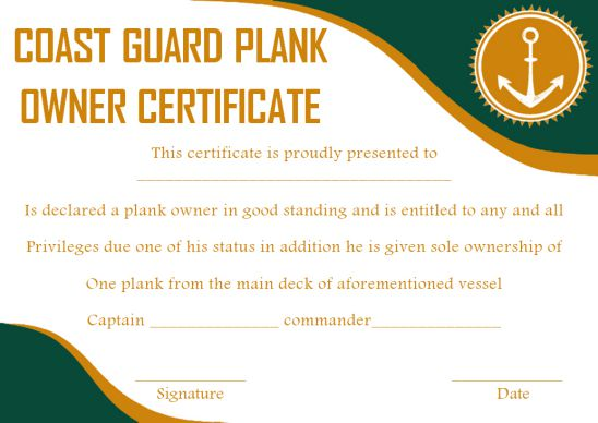Coast Guard Plank Owner Certificate