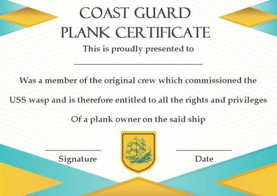 Coast Guard Plank Owner Certificate Template