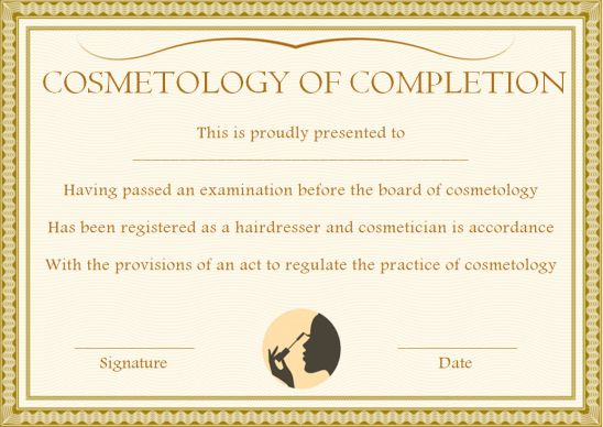 Cosmetology Certificate Of Completion